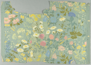 horizontal rectangle - daisies, clover, thistles and other wld flowers on pale blue background - the wallpaper silk screened from 1967-97-14, cut in half, a drawing inserted in between to widen the design - [ torn in three pieces and held together with tape].