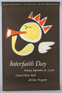 Poster, Interfaith Day, Central Park Mall / Sunday September 26