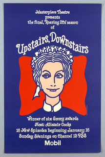 On blue ground with a red formation at center, the face and neck of a female maid wearing a headband and collar. Text about the program appears above and below in swirling white script.