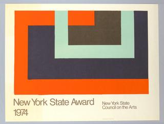 Poster, David Novros, List Art. New York State Award, 1974
