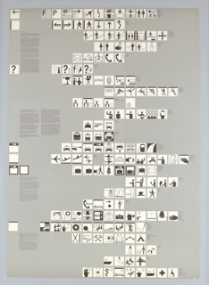 """Poster employing 169 """"symbol signs"""" or pictographs in black, and sometimes gray, in white squares from top to bottom of sheet.  Symbols represent an international visual """"language"""" that instructs the viewer to the many activities and regulations of the Olympic Village in Münich durning the 1972 Games. These are presented on a uniform silver-gray background with instructive text in black on the left side of the sheet [in German].  To the right of each of the 24 rows of signs, there is printed text [in German] detailing the image."""