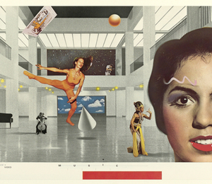 Collage image with the background of a large white building floor.  From left to right: A photograph of a woman, head tilted back with a pencil underneath it; an open notebook, text on the wall, and below a photograph of a landscape with dark and light blue skies and a person jumping; above, a film wheel and photo film; in the distance a piano, a statue, and a painting of a blue sky with clouds, in front of it a man jumping with one leg kicked out to the side; a small woman whispering into a large female head; above, a television floating next to a thumbtack and ruler; below, text on the wall and a black and white photo of a man with his hands on his hips.  Lower right corner, a person's hand holding up the picture.