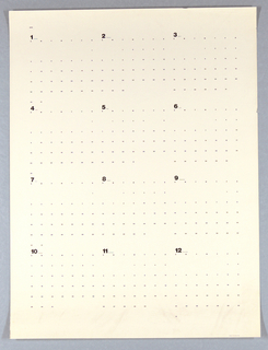 Calendar for the year 1972 on an off-white sheet, organized into a grid. The number for each month (i.e. one, for January) is largest with the month name quite small beside it, and the numbered days fall in smaller, organized rows and columns below.