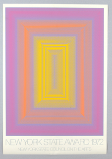 Vertical rectangle. Abstract op-art arrangement of concentric vertical rectangles in shades of yellow, orange, blue, and purple. Printed gray text at bottom margin.