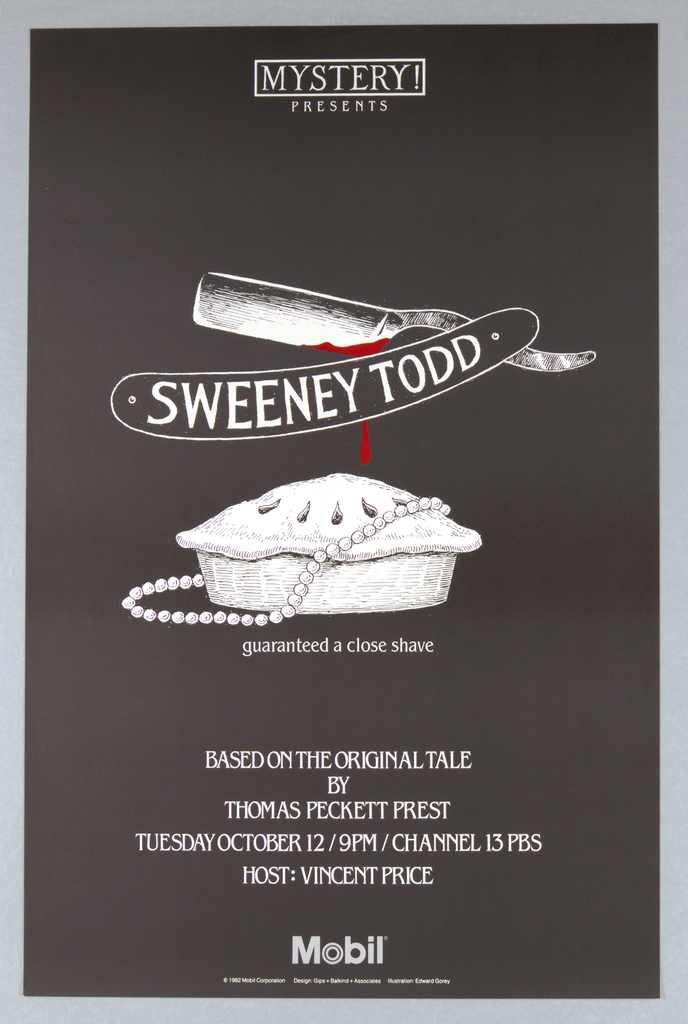 """Poster, Mobile, Mystery! Presents """"Sweeney Todd"""", 1982"""