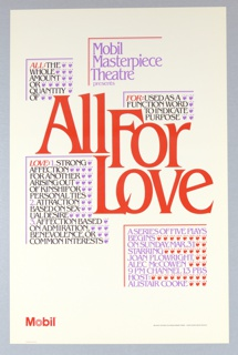 "Poster, Mobil Masterpiece Theatre Presents ""All For Love"", 1985"