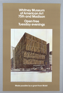 Poster, Whitney Museum of American Art, 75th and Madison, 1973
