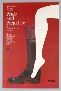 On red ground, a photoillustration of a black and brown men's boot on a red carpet. Superimposed over the boot is a white silhouette of a woman's leg; her pointed foot appears delicately small beside the boot. Printed white text at upper left.