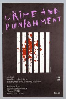 On black ground, an abstracted view of the bars of a jail cell composed of six vertical white bars, splattered with red blood. Written in pink text above: CRIME AND / PUNISHMENT; printed text and logos below.
