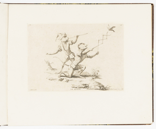 Plate 4 of a series of 23 prints featuring monkeys acting as humans in various figural scenes. In outdoor setting, two monkeys in human costume. At left, standing behind the figure at right, is a monkey wearing a feathered cap and tunic. He holds a long thin tube to his lips that he is using as a blow gun to shoot pellets at a bird in flight at upper right. To his right, a monkey on one knee holds a crisscrossing contraption to trap the bird in the air. He looks up at the bird with his mouth open and tongue hanging out. Indication of tree stump in background.
