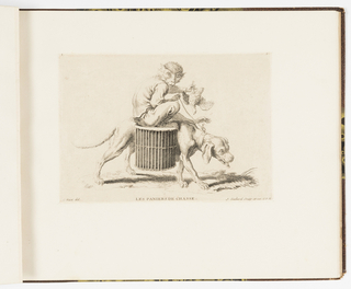 Plate 9 of a series of 23 prints featuring monkeys acting as humans in various figural scenes. In outdoor setting, a figure of a monkey in human costume riding on the back of a hunting dog. He holds the dog's leash in his right hand and a dead bird in his left. At the dog's side is a lined basket for storing the catch.