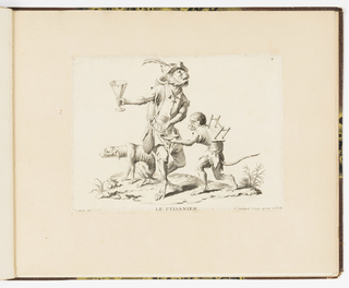 Plate 4 of a series of 23 prints featuring monkeys acting as humans in various figural scenes. In outdoor setting, a figural group of monkeys in human costume. At center, a monkey in a feathered hat wears a container of infused herbal tea at his back, with a long tube to dispense and deliver the beverage. He holds a conical chalice in his right hand. A smaller monkey at right with a stool on his back fills a small bowl with the drink. In the background, a cowering dog defecates.