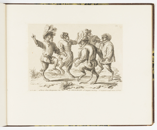 Plate 12 of a series of 23 prints featuring monkeys acting as humans in various figural scenes. In outdoor setting, a group of monkey figures in human costume, both men and women, many of the men wearing elaborate feathered hats. They dance the Branle, popular in the 18th century, linking hands and turning in a circle.