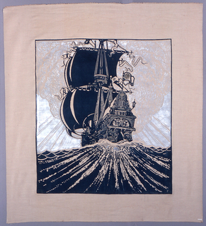 Linoleum block print or a sailing vessel on the crest of a wave, printed in dark blue, silver and gold on a natural ground.