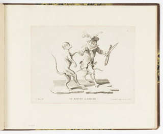Plate 6 of a series of 23 prints featuring monkeys acting as humans in various figural scenes. Two monkey figures dancing, the animal at left is nude, while the monkey at right is dressed in elaborate court costume, including a sword at his hip, a sash, and a large feathered hat. He holds the hand of his partner, instructing him in the dance steps. In his left hand, he holds a violin and bow.