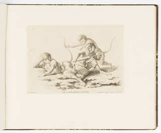 Plate 7 of a series of 23 prints featuring monkeys acting as humans in various figural scenes. In outdoor setting, a group of three monkey figures dressed in human costume. The monkey at left reclines with its rear end exposed. He holds his hand at his head and has a shocked expression. The other two monkeys at right prepare to give him an enema. A kneeling monkey in the background holds the reclining monkey's tail and points. A seated monkey in the foreground holds a large syringe to the rear end of the reclining monkey.