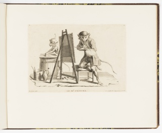 Plate 11 of a series of 23 prints featuring monkeys acting as humans in various figural scenes. Figure of a monkey in gentleman's clothing at center kneels upon a stool with an upholstered cushion before a canvas on an easel. He holds an artist's palette and applies a paintbrush to it. At left, another monkey in a hat rolls out a section of clay upon a flat surface at the top of a barrel. A jug and bucket appear at lower left.