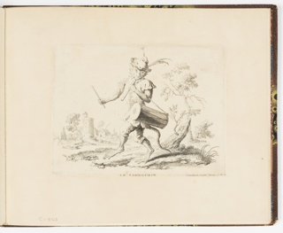 Plate from a series of 23 prints featuring monkeys acting as humans in various figural scenes. In an outdoor environment, a figure of a monkey in gentleman's costume wearing feathered hat plays the tambor, an elongated snare drum. While drumming, he also plays a simple flute. Indications of a town in the background.