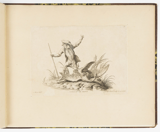 Plate 3 of a series of 23 prints featuring monkeys acting as humans in various figural scenes. In an outdoor environment, a figure of a monkey in gentleman's costume at left. He wears a hat and holds a walking stick, his arms gesticulating widely. At his feet, a small falcon or hawk attacks a large goose or crane, who cries out. The monkey observes the birds.