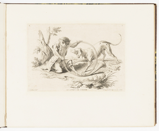 Plate 2 of a series of 23 prints featuring monkeys acting as humans in various figural scenes. In an outdoor setting, a monkey in a hunting costume kneels, blowing into a circular French horn. A hunting dog at right peers at him as he blows into the instrument.
