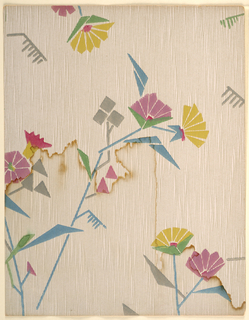 Modernist/Art Deco pattern of stylized flowers and leaves composed of simple geometric shapes on long angular stalks; Some leaves shaped like combs with irregular teeth; forms seem thickly applied using stencils; ground pattern with close-set irregular vertical lines seemingly done in pen; color scheme of red, magenta, yellow flowers, grey, green, and blue leaves and stalks, pale pink/tan ground.