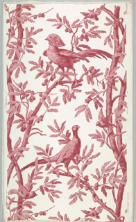 Two alternate motifs of a cock and hen pheasant. Both are perched on branches of a pine tree, with pine cones. Smaller birds are perched on twigs. Tree trunks are continuous. Monochrome printing in shades of red and pink on white satin ground.