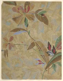 Modernist pattern of abstracted long-stemmed flowers with leaves; non-naturalistic shading, sharp edges, and soft, uneven coloration gives effect of tissue paper cut-outs or stencils; contours occasionally accented with thin lines reminiscent of brushstrokes; ground has dabs of pastel colors and raked texture; color scheme of browns and muted green, red, and light blue on uneven brown ground.