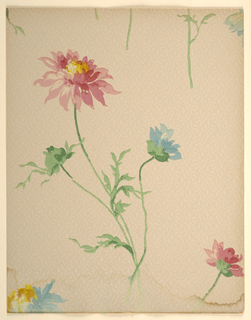 Pattern with enlarged motif of three flowers in varying stages of bloom with stems and leaves; one flower is in bulb, one is opening up, one fully blooms; each flower is a different color; painterly, impressionistic effect; soft colors reminiscent of watercolors; ground has slight textured effect with pale tangled linework; red, blue flowers, green leaves and stems, tan-pink ground; water damage along bottom edge.