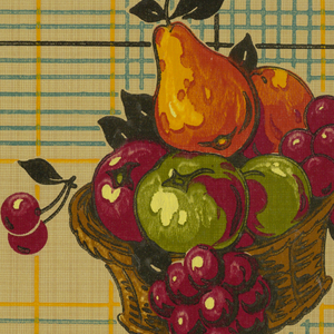 Large fruit basket on plaid ground, varnished surface; beige ground, blue, black, yellow, orange, magenta, green