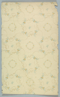Floral wreath motifs surrounded by scrolls and floral swags. Printed on off-white ground.