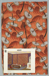 Strie ground covered with palm-like fronds overlaid with black branches skewered with ovals printed in silver and gold. Printed in orange, dark red, black, silver and gold on an orange ground.