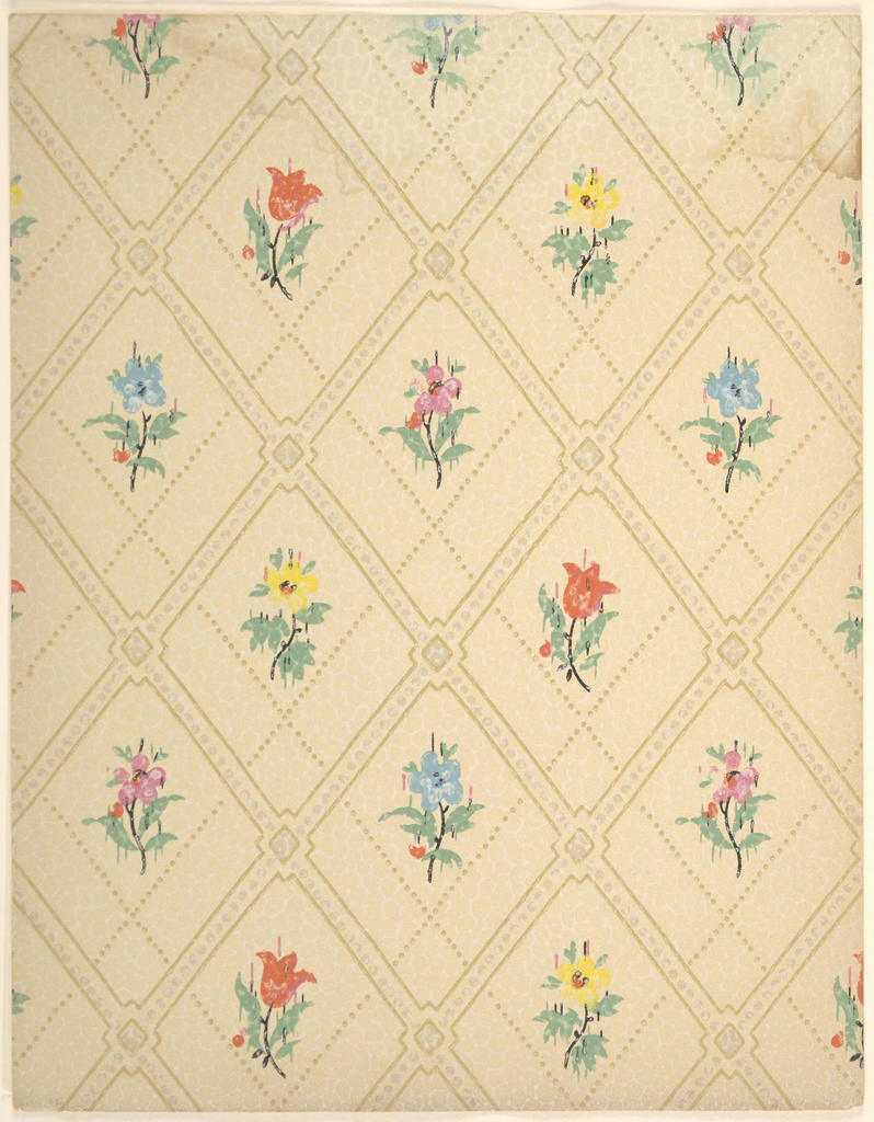 Double-layered lattice pattern with floral motifs; Front lattice consists of dotted line with diamonds at intersections, the whole bordered in brown lines; second lattice is slightly off-set from the first and is composed of dotted lines; flowers fill gaps in lattices; flowers are in profile with stems and leaves and in several varieties and colors; rough painterly effect to the flowers as if the paint dripped slightly before it dried; latticework is greenish-brown; flowers have green leaves, black stems and centers, petals of blue, red, yellow, and magenta; beige ground; water damage along upper edge.