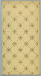 Overall trellis design, with squares at intersections. Floral motif set inside square. Many intersecting dotted lines in void.  Printed in green, brown and metallic gold on tan ground.