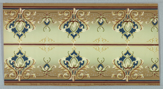 On gradient rose and light gray ground; scroll vase-like motifs in yellow and rose containing deep blue and white, alternating with small motifs in similar style.