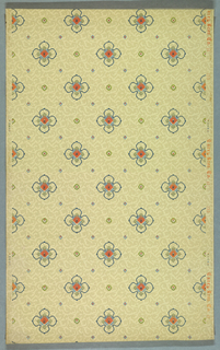 Quatrefoil motif, with a square flower in the center. This alternates with smaller square motifs. Printed on a mottled off-white background.