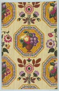 Needlework imitation fruit basket in octagon shape with leafy border, from top a spray of flowers. Printed in purple, brown, magenta and green on a grey ground.