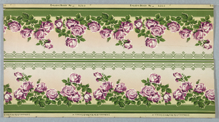 Row of clusters of roses, bordered with bands. Printed in lavender and dark green on light gray ground. Two borders printed across the width.