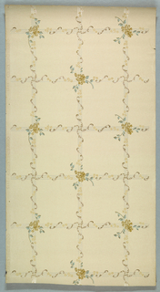 Trellis or grid pattern with rods and rails wrapped in scrolls and floral sprigs. Larger sprig at every second intersection. Printed on off-white ground.