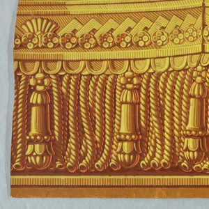 Passementarie. Fancy gimp with bullion fringe and tassels. Fringe for drapery paper. Printed in five colors: shades of yellow ocher and bright orange on yellow ocher ground.