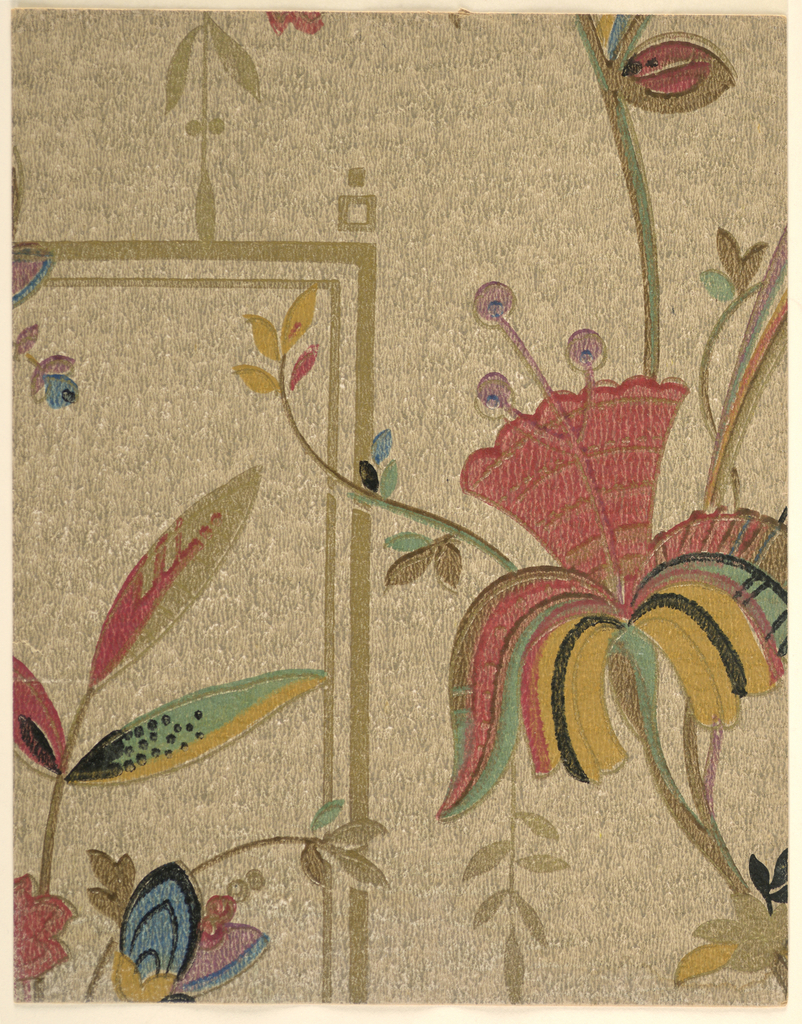 Modernist/Art Deco double-layer pattern of flowering vine with large stylized bellflowers on pattern background; variety of patterned, multi-colored leaves with stripes and dots; bellflower has body patterned with concentric arches and multi-colored fountain of leaves growing from base; soft, uneven colors and brushstrokes evoking watercolors; background features double-lined rectilinear design enlivened with scattered small squares and leafy stalks; drip texture on ground; color scheme of reds, greens, browns, yellows, pale purple on brown and tan ground.