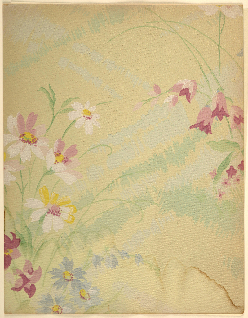 Art Deco pattern with enlarged stylized meadow; rolling lines of grasses rendered in thick hatching; patches of wildflowers rendered in rough daubed painterly style; asymmetric composition; pink, blue, and white flowers with yellow and red detailing; green and light green grasses; beige ground; water damage along bottom edge.