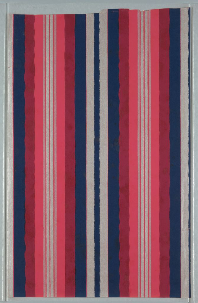 Undulating and straight stripes. Printed in silver, dark blue, burgundy and bright pink.