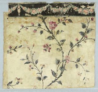 large foliage pattern(blue-green and black) with red flowers on white background (first layer of wall #1)