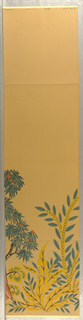 "Section A of ""Modern Classics"" figures with flowers and trees, light tan background"