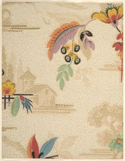 Modernist/Art Deco double-layer pattern with scattered long-stalked fanciful flowers on background with landscape scene; foliage seemingly crudely painted with thick brushstrokes detailing the flowers and the veining of the leaves; landscape in background is softly-rendered scene of cottage at a forest's edge; irregular brown dashes covering background gives texture effect; color scheme of primary and secondary colors and black for foliage; browns on background pattern; beige ground.