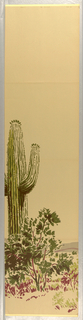 "Section D of ""Desert Lands"" cactus, sand, butte on a gray background"
