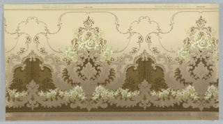 On cream ground, scrolls creating negative space in brown flocked areas with green and white roses.
