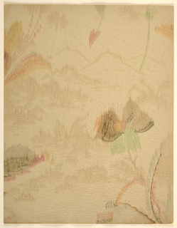 Modernist/Art Deco double-layered pattern of long-stemmed fanciful flowers over mountain landscape scene reminiscent of Chinese paintings; blurred and washed-out watercolor effect throughout pattern; flowers are multicolored with occasional black detailing; landscape scene is largely undetailed and rendered in a single color with soft contour lines and patches to indicate forests; color scheme of brown, orange, red, green, pale blue and black on flowers, brown on the landscape, tan ground.