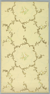 Large central circular motif composed of scrolling acanthus, linked floral swags or garlands on inner edge, with floral motif in center. Printed in green, tan, and metallic gold on light yellow ground.