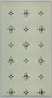 Two quatrefoil motifs, one larger, one smaller, are connected and separated by vining foliate ogival lines. Printed in deep blue, tan, black, gray, and white mica on light colored ground.
